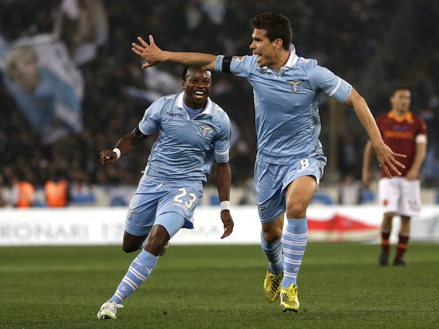 Lazio's Hernanes celebrates a goal in the derby against Roma on April 8, 2013