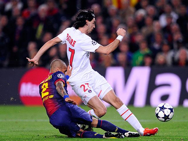 Paris Saint-Germain's Javier Pastore scores the opening goal against Barcelona on April 10, 2013