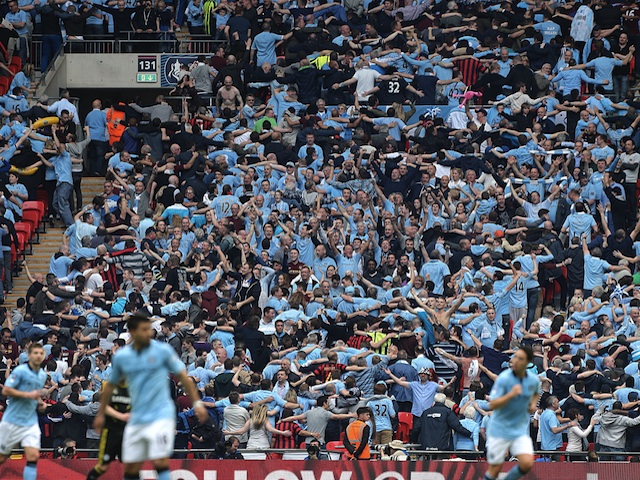 City fans do 'The Poznan' after Samir Nasri's goal against Chelsea on April 14, 2013