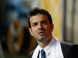 Inter boss Andrea Stramaccioni on the touchline during the Coppa Italia semi final match against Roma on April 17, 2013