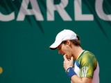 Andy Murray reacts during the match against Stanislas Wawrinka in the Monte Carlo Masters on April 18, 2013