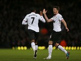 Antonio Valencia celebrates with teammate Michael Carrick after scoring the equaliser against West Ham on April 17, 2013