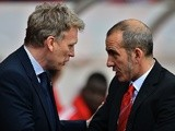 Opposing bosses David Moyes and Paulo Di Canio greet each other before the game on April 20, 2013