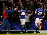 Ipswich Town's Frank Nouble celebrates his goal during the Championship clash with Crystal Palace on April 16, 2013