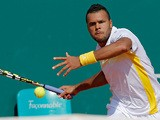 Jo-Wilfried Tsonga returns the ball during the match against Jurgen Melzer in the Monte Carlo Masters on April 18, 2013