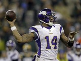 Minnesota Vikings quarterback Joe Webb in action on January 5, 2013
