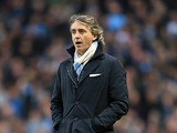 Manchester City boss Roberto Mancini on the touchline during the match against Wigan on April 17, 2013
