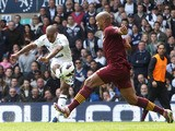 Tottenham Hotspur's Jermain Defoe scores against Manchester City during the Premier League clash on April 21, 2013