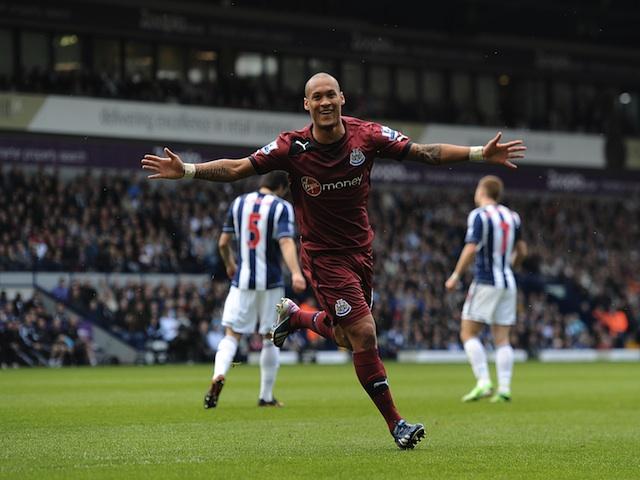 Newcastle's Yoan Gouffran celebrates a goal against West Brom on April 20, 2013