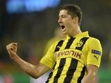 Borussia Dortmund's Robert Lewandowski celebrates scoring against Real Madrid on April 24, 2013