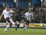 Blackburn Rovers' Jordan Rhodes scores their second goal against Millwall from the penalty spot on April 23, 2013