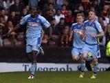 Burton Albion's Calvin Zola celebrates scoring his second goal against Bradford City on May 2, 2013