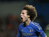 Chelsea's David Luiz celebrates scoring the third goal against FC Basel on May 2, 2013
