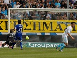 Marseille's French forward Andre-Pierre Gignac scores against Bastia in the Ligue 1 clash on May 4, 2013