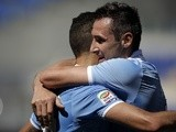 Lazio's Miroslav Klose celebrates a goal against Bologna on May 5, 2013