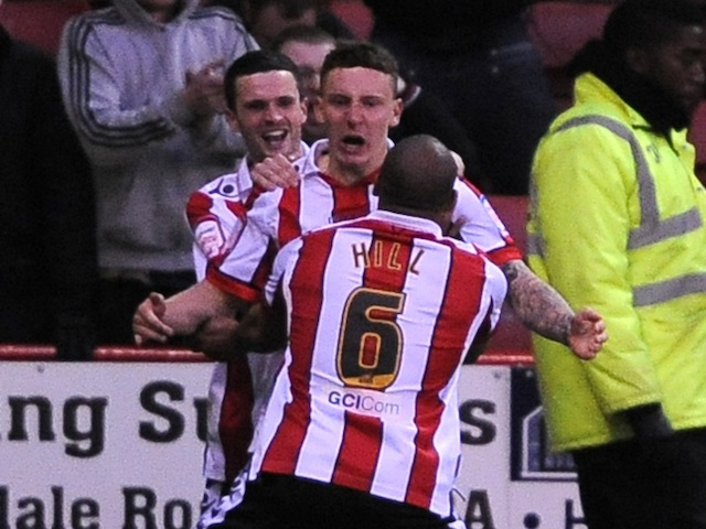 Sheffield United's Callum McFadzean celebrates a goal against Yeovil Town on May 3, 2013