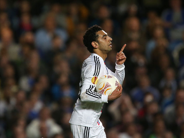 Basel's Mohamed Salah celebrates scoring their first goal of the game against Chelsea on May 2, 2013