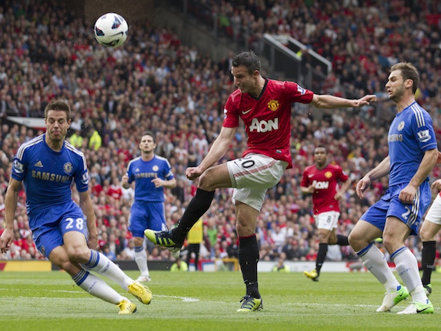 United striker Robin Van Persie in action against Chelsea on May 5, 2013