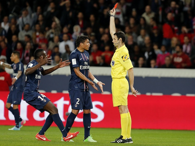 PSG defender Thiago Silva is sent off against Valenciennes on May 5, 2013