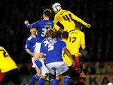 Leicester's David Nugent scores the opening goal against Watford on May 9, 2013