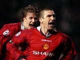 Eric Cantona celebrating a goal for Manchester United in 1997.