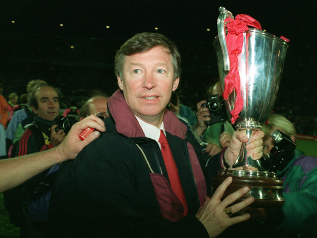 Manchester United manager Alex Ferguson with the European Cup Winners Cup trophy
