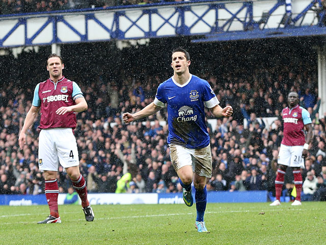 Everton's Kevin Mirallas celebrates scoring against West Ham United on May 12, 2013