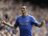 Chelsea's Fernando Torres celebrates scoring against Everton on May 19, 2013
