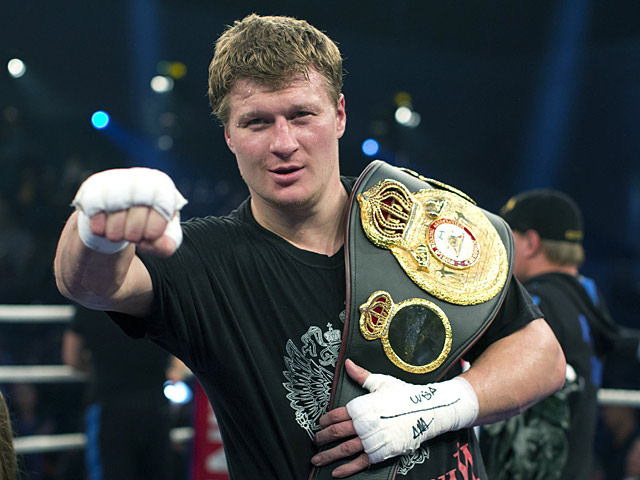 Alexander Povetkin poses after winning his fight against Hasim Rahman on September 29, 2012