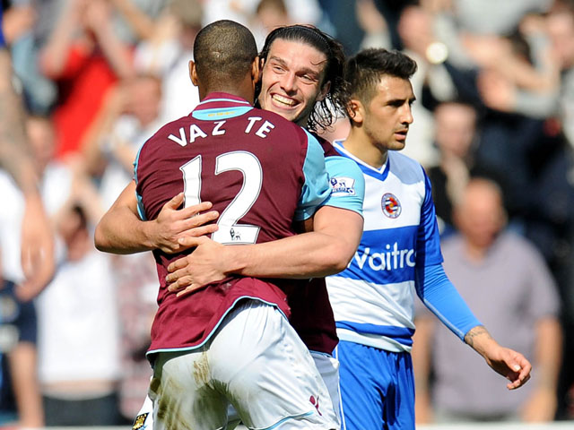 West Ham United's Ricardo Vaz Te celebrates scoring against Reading on May 19, 2013