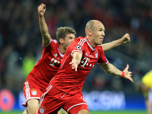 Bayern Munich's Arjen Robben celebrates scoring the winning goal in the Champions League Final on May 25, 2013