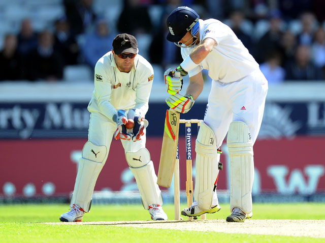 England's Ian Bell is caught behind by New Zealand's Brendon McCullum during the Second Test on May 25, 2013