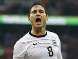 England's Frank Lampard celebrates after scoring the equaliser in the match against Ireland on May 29, 2013