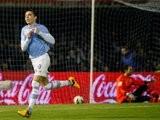 Iago Aspas celebrates scoring against Real Madrid.