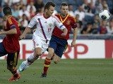Russia's Denis Cheryshev chases the ball during the Under 21 match against Spain on June 6, 2013