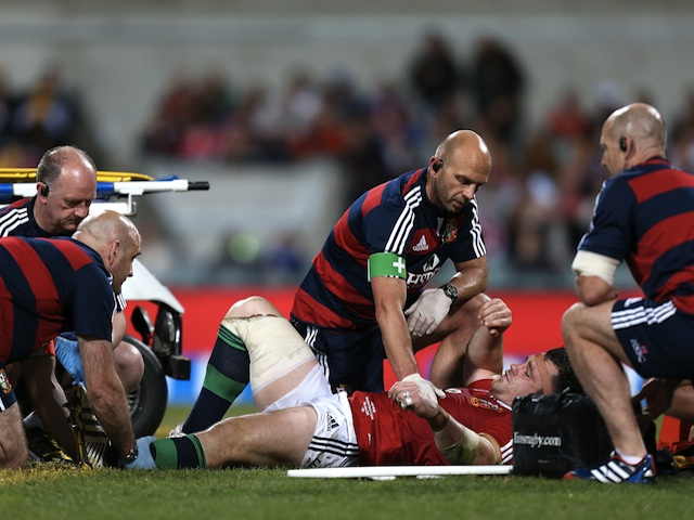 Lions' Cian Healy being treated for an injury against Force on June 5, 2013