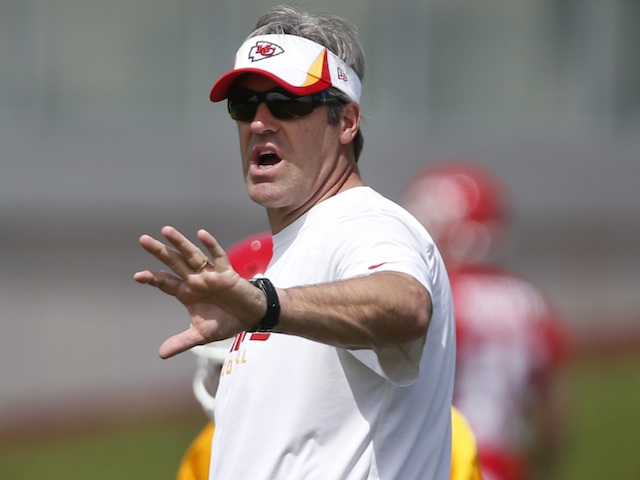 Chiefs offensive co-ordinator at practice on May 21, 2013