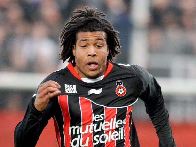 Nice's Kevin Anin during the Ligue 1 match against Auxerre on April 21, 2012