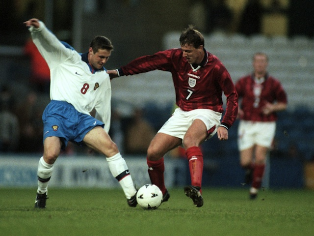 Southampton legend Matt Le Tissier playing for England on April 21, 1998