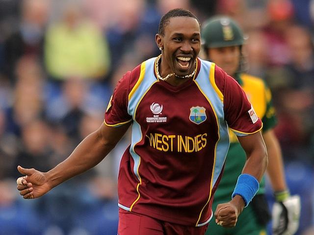 West Indies' Dwayne Bravo celebrates a wicket against Australia on June 14, 2013