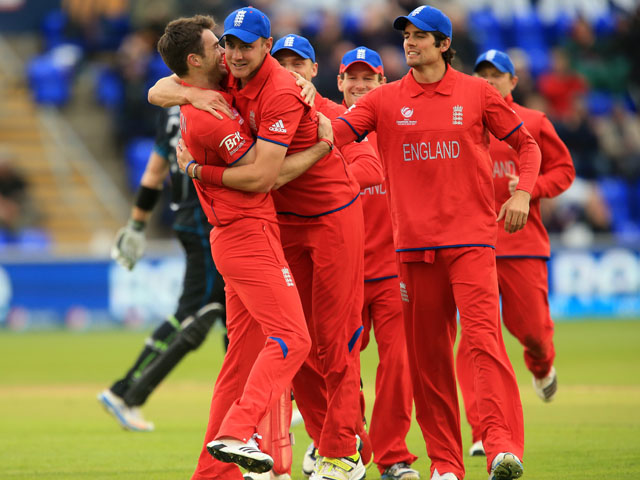 England's James Anderson celebrates clean bowling New Zealand's Martin Guptill during the ICC Champions Trophy match on June 16, 2013