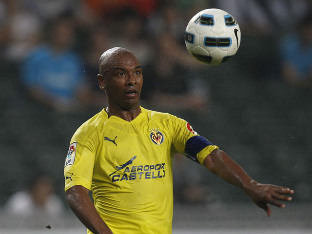 Marcos Senna of Villarreal during the Japan Earthquake Relief Charity match against Hong Kong's local team Kitchee on May 27, 2011