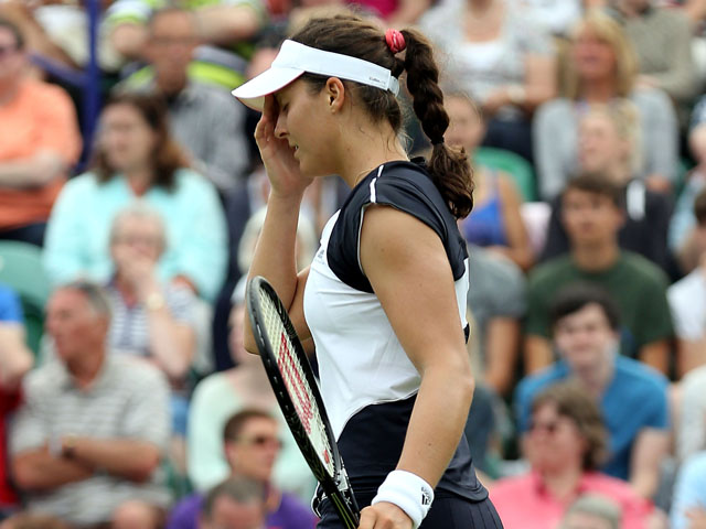 Great Britain's Laura Robson after losing to Denmark's Caroline Wozniacki during the AEGON International on June 19, 2013