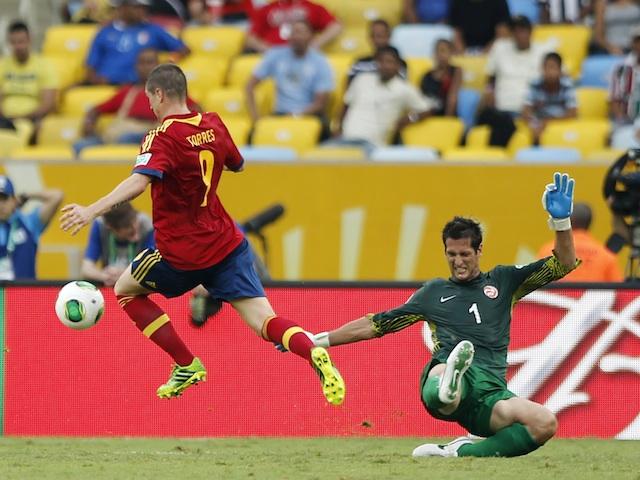 Spain's Fernando Torres scores a goal against Tahiti on June 20, 2013