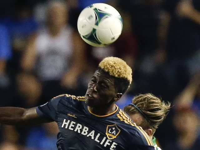 LA Galaxy's Gyasi Zardes in action against Portland on June 19, 2013