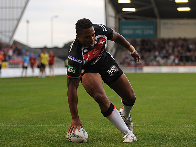 St Helen's Jordan Turner scores the opening try of the match against Salford City Reds on June 21, 2013