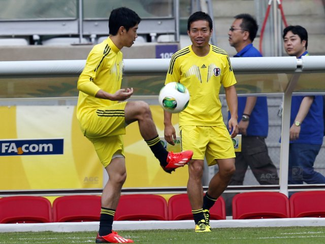 Shinji Kagawa in training with Japan.
