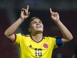 Colombia's Juan Quintero celebrates a goal against El Salvador on June 28, 2013