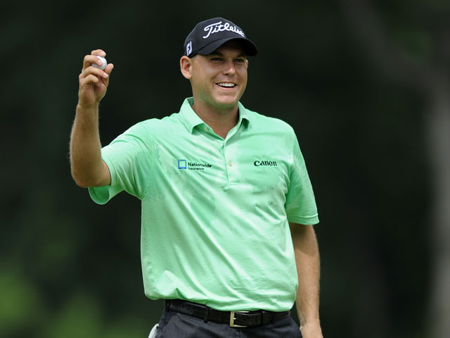 Bill Haas reacts after winning the AT&T National golf tournament at Congressional Country Club on June 30, 2013