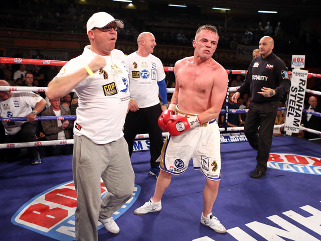 Frankie Gavin celebrates after beating Denton Vassell in their British and Commonwealth Welterweight Title fight on June 28, 2013